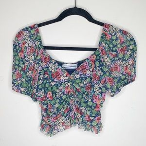 Urban Outfitters Floral Mesh Crop Top